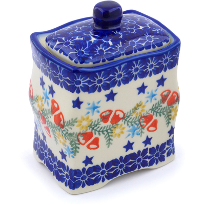 "Polish Pottery Jar with Lid 4"" Wreath Of Bealls"
