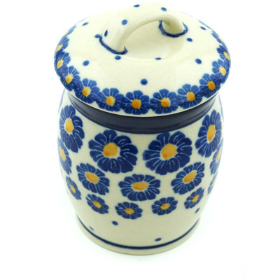 "Polish Pottery Jar with Lid 4"" Wreath Of Blue"