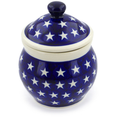 "Polish Pottery Jar with Lid 5"" America The Beautiful"