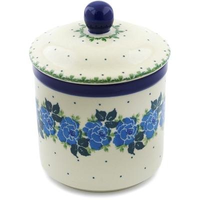 "Polish Pottery Jar with Lid 5"" Blue Garland"