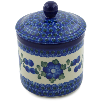 "Polish Pottery Jar with Lid 5"" Blue Poppies"