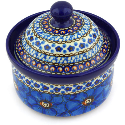 "Polish Pottery Jar with Lid 5"" Cobalt Poppies UNIKAT"