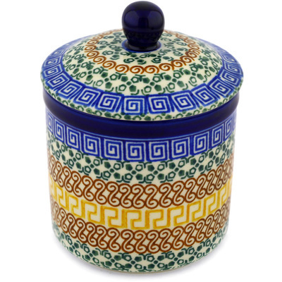 "Polish Pottery Jar with Lid 5"" Grecian Sea"