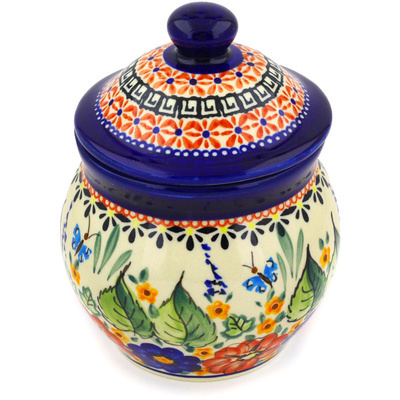 "Polish Pottery Jar with Lid 5"" Spring Splendor UNIKAT"