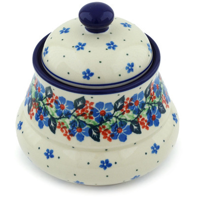 "Polish Pottery Jar with Lid 5"" Summer Wreath"