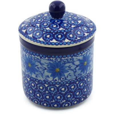 "Polish Pottery Jar with Lid 5"" Winter Water Daisies UNIKAT"