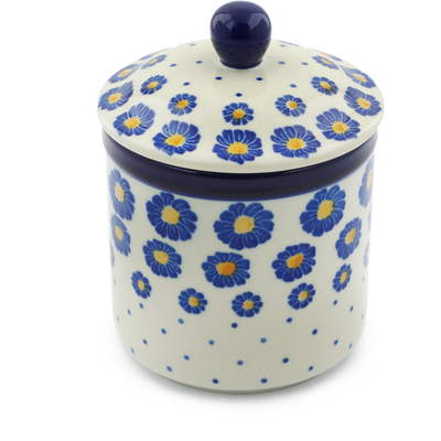 "Polish Pottery Jar with Lid 5"" Wreath Of Blue"