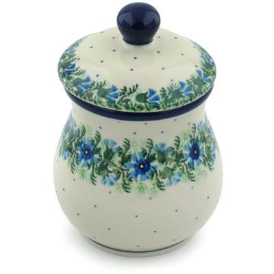 "Polish Pottery Jar with Lid 6"" Blue Bell Wreath"