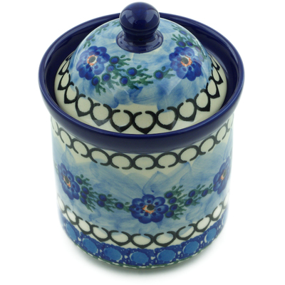"Polish Pottery Jar with Lid 6"" Blue Delight UNIKAT"