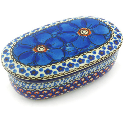 "Polish Pottery Jar with Lid 6"" Cobalt Poppies UNIKAT"