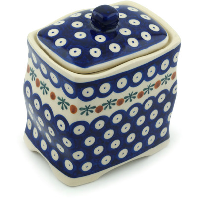 "Polish Pottery Jar with Lid 6"" Mosquito"