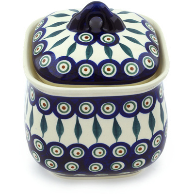 "Polish Pottery Jar with Lid 6"" Peacock Leaves"