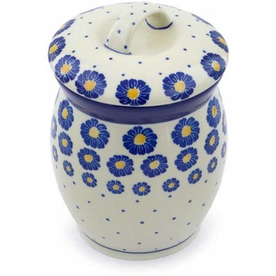 "Polish Pottery Jar with Lid 6"" Wreath Of Blue"