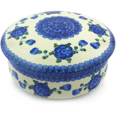 "Polish Pottery Jar with Lid 7"" Blue Poppies"