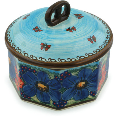 "Polish Pottery Jar with Lid 7"" Field Of Butterflies UNIKAT"