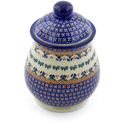 "Polish Pottery Jar with Lid 8"" Blue Cress"