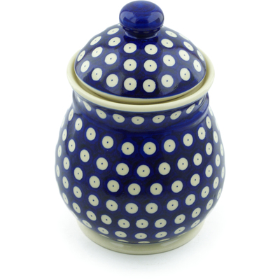 "Polish Pottery Jar with Lid 8"" Blue Eyed Peacock"