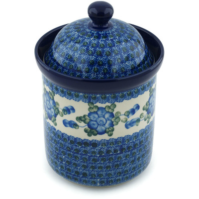 "Polish Pottery Jar with Lid 8"" Blue Poppies"