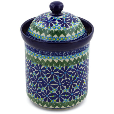 "Polish Pottery Jar with Lid 8"" Deep Blue Astrid UNIKAT"