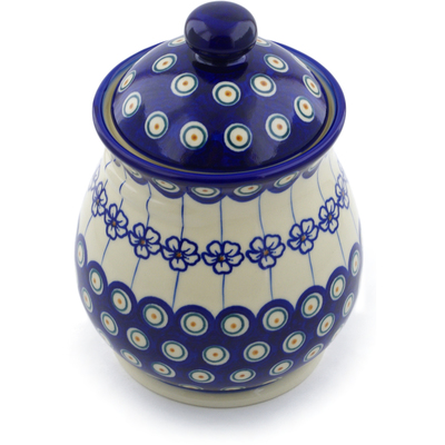 "Polish Pottery Jar with Lid 8"" Flowering Peacock"