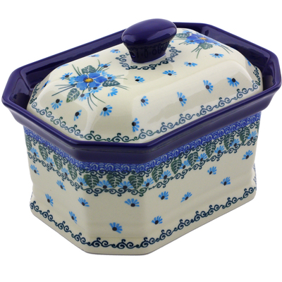 "Polish Pottery Jar with Lid 8"" Forget Me Not"
