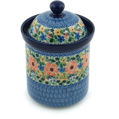 "Polish Pottery Jar with Lid 8"" May Flowers UNIKAT"