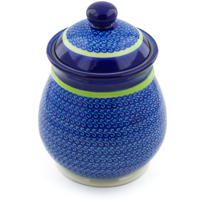 "Polish Pottery Jar with Lid 8"" Midnight Eclipse"