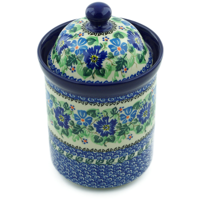 "Polish Pottery Jar with Lid 8"" Morning Glory Wreath UNIKAT"