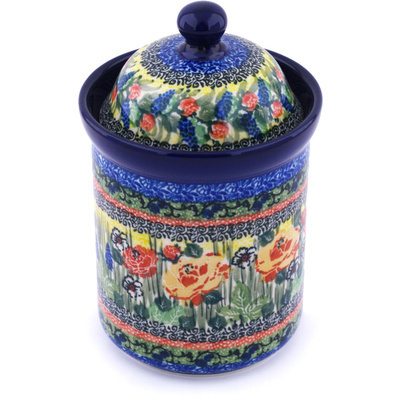 "Polish Pottery Jar with Lid 8"" Splendid Morning Glow UNIKAT"