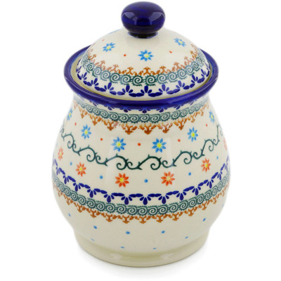 "Polish Pottery Jar with Lid 8"" Sunflower Dance"