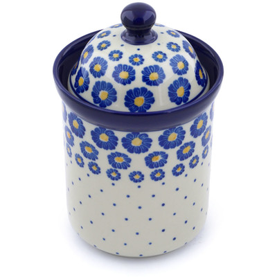 "Polish Pottery Jar with Lid 8"" Wreath Of Blue"