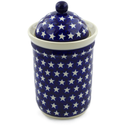 "Polish Pottery Jar with Lid 9"" America The Beautiful"