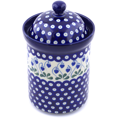 "Polish Pottery Jar with Lid 9"" Bleeding Heart Peacock"