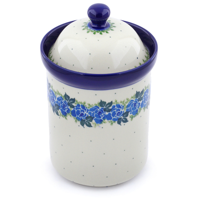 "Polish Pottery Jar with Lid 9"" Blue Garland"