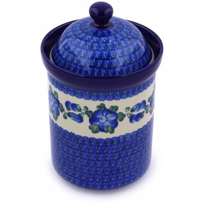 "Polish Pottery Jar with Lid 9"" Blue Poppies"