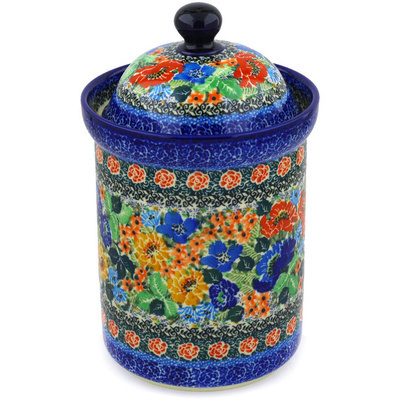 "Polish Pottery Jar with Lid 9"" Splendid Red Daisy UNIKAT"