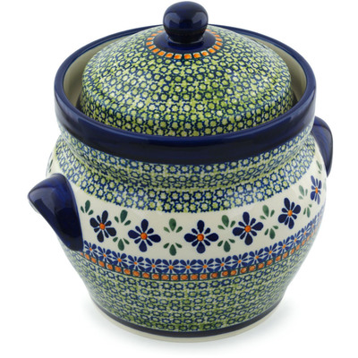 "Polish Pottery Jar with Lid and Handles 10"" Gingham Flowers"