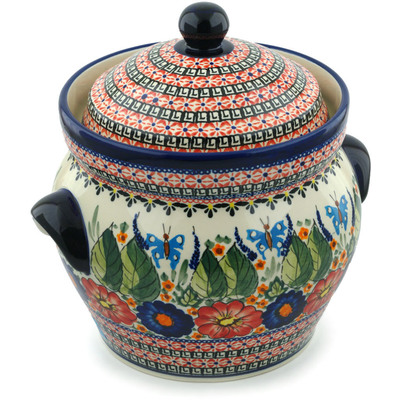 "Polish Pottery Jar with Lid and Handles 10"" Spring Splendor UNIKAT"