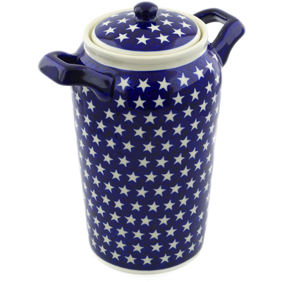 "Polish Pottery Jar with Lid and Handles 11"" America The Beautiful"