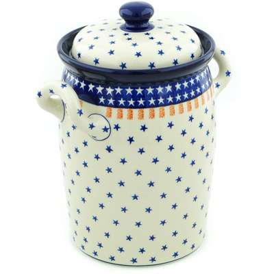 "Polish Pottery Jar with Lid and Handles 11"" Classic Americana"