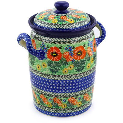 "Polish Pottery Jar with Lid and Handles 11"" Poppy Parade UNIKAT"