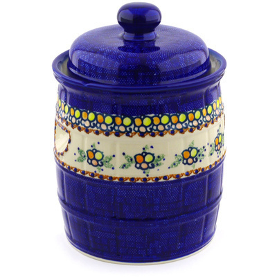 "Polish Pottery Jar with Lid and Handles 12"" Color Melody UNIKAT"