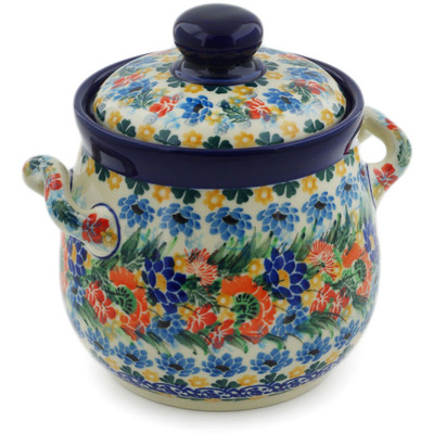 "Polish Pottery Jar with Lid and Handles 6"" Dream Bouquet UNIKAT"