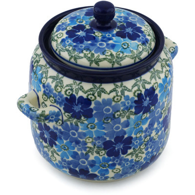 Polish Pottery Jar with Lid and Handles 6-inch Fields Of Blue UNIKAT