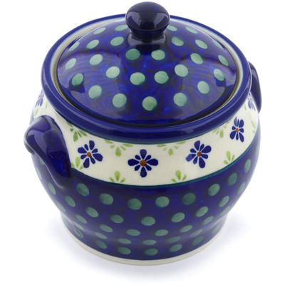 "Polish Pottery Jar with Lid and Handles 6"" Green Gingham Peacock"