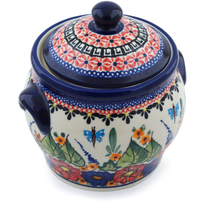 "Polish Pottery Jar with Lid and Handles 6"" Spring Splendor UNIKAT"