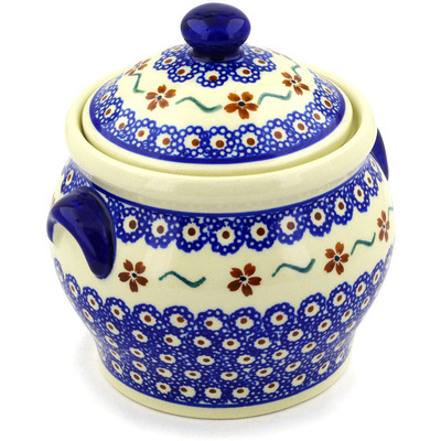 "Polish Pottery Jar with Lid and Handles 6"" Sweet Red Flower"