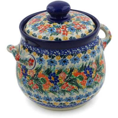 "Polish Pottery Jar with Lid and Handles 7"" Dream Bouquet UNIKAT"