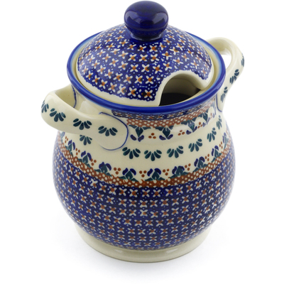 "Polish Pottery Jar with Lid and Handles 8"" Blue Cress UNIKAT"