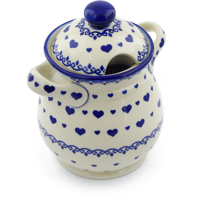 "Polish Pottery Jar with Lid and Handles 8"" Blue Valentine"